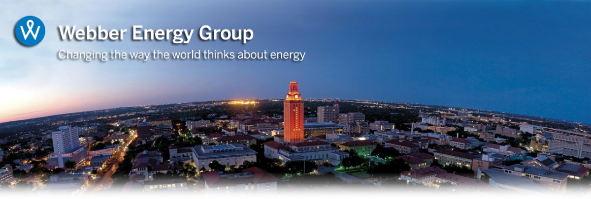 "UT Tower with Webber Energy Group Logo ""Changing the Way the World Thinks About Energy"""